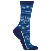 Hot Sox Women's Happy Hanukkah Non Skid Crew Socks 1 Pair, 4-10.5 Shoe